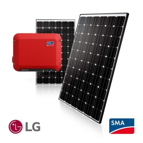 Grid tied 2.5kW DIY solar PV package with SMA and LG solar panels