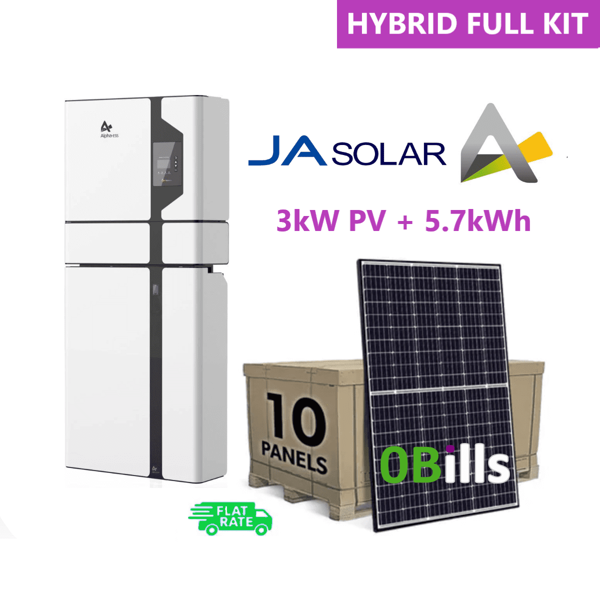 Complete 3KW Solar Panel System Kit with Alpha 5.7KW Battery Storage