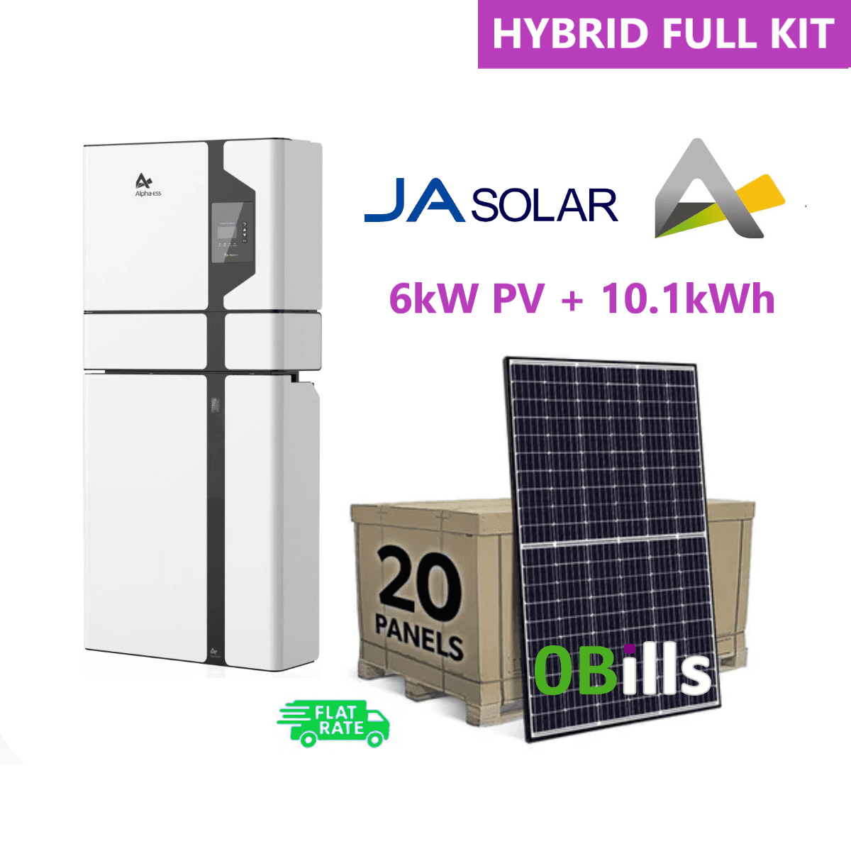 Complete 6000W Solar Panel System Kit with Alpha 10.1KW Battery Storage