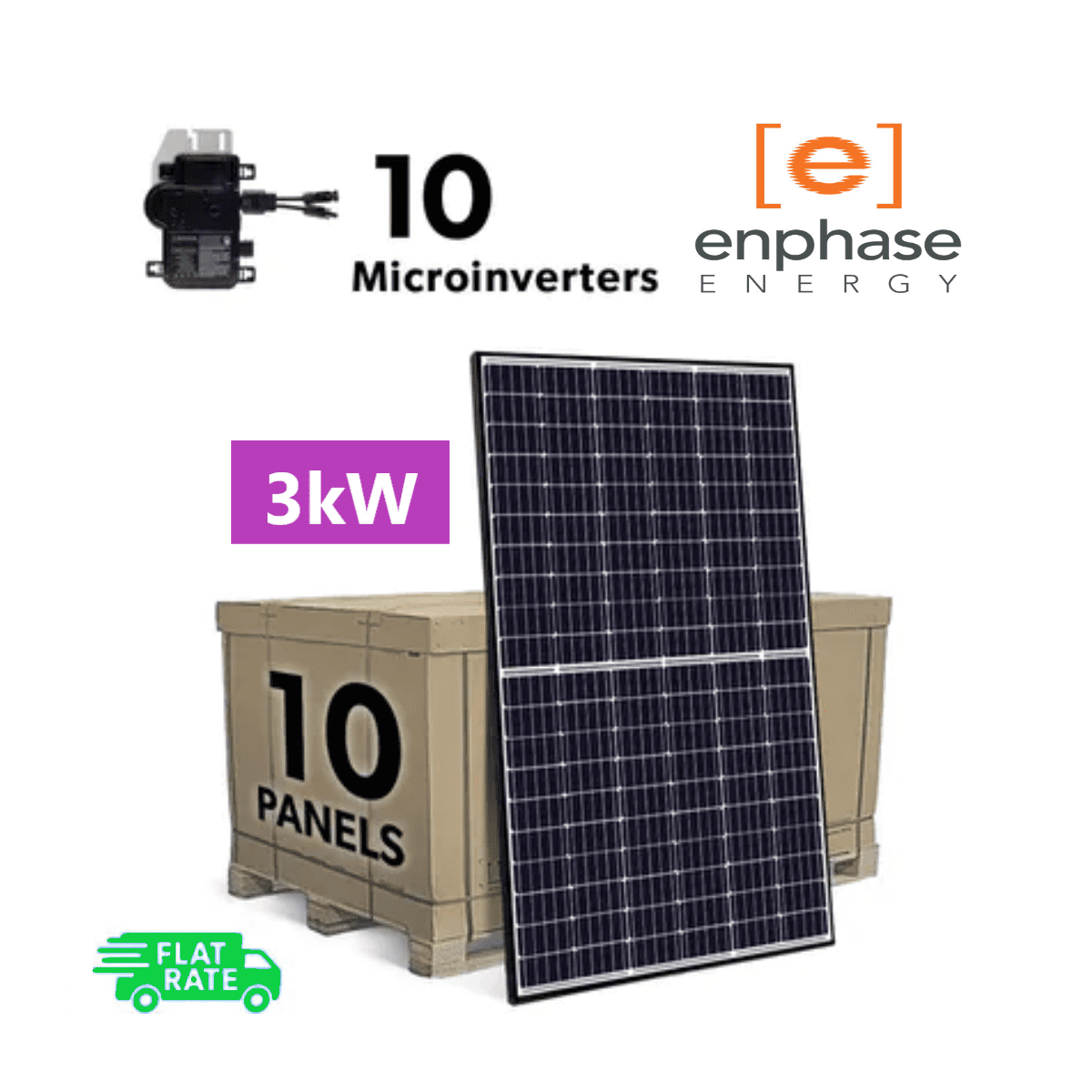 Complete Grid Tied 3kW (3000W) DIY Solar Panel System Kit with Enphase IQ+ Microinverters