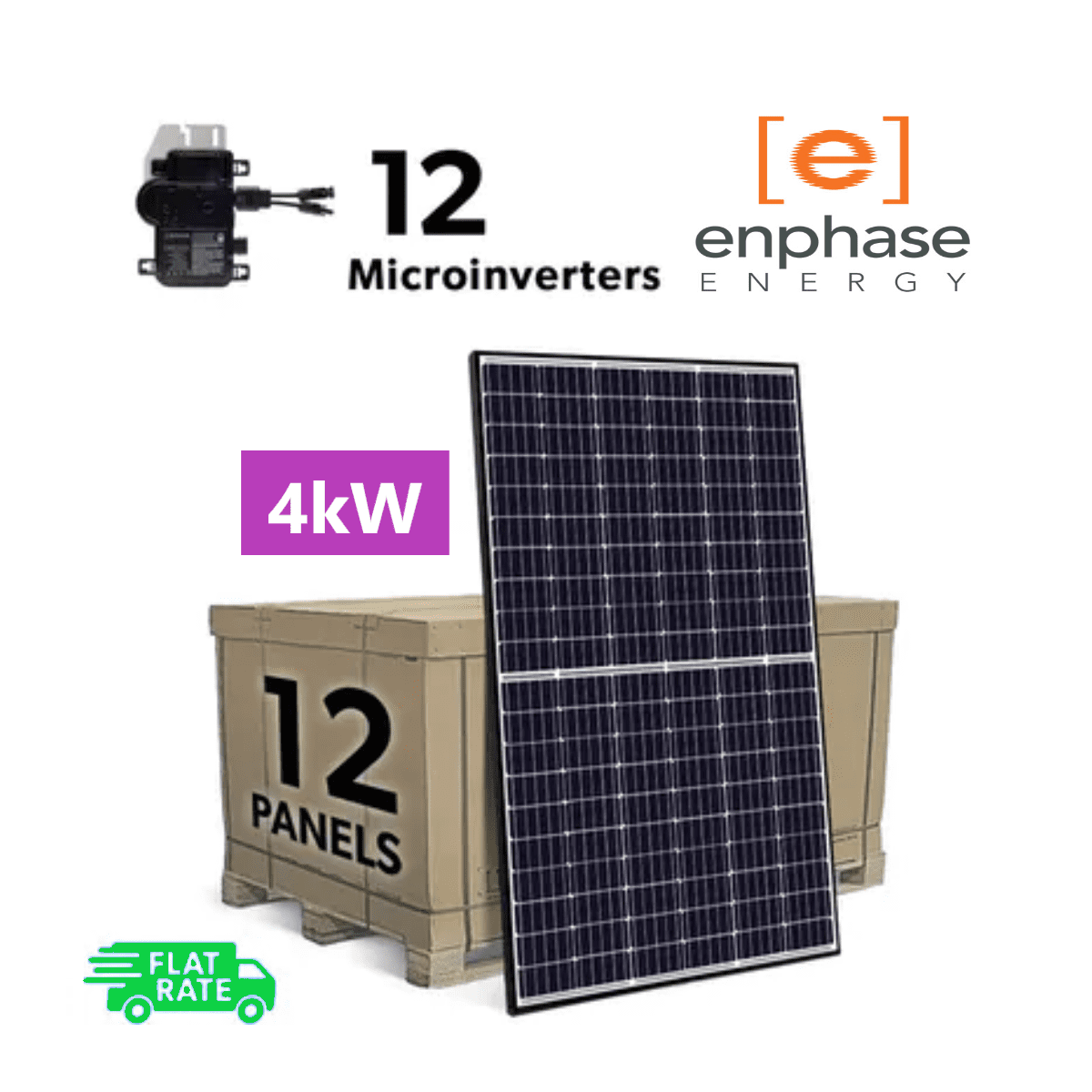 Complete Grid Tied 4kW (4000W) DIY Solar Panel System Kit with Enphase IQ+ Microinverters