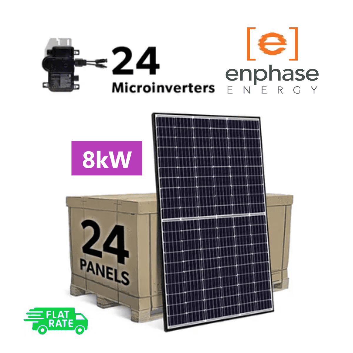Complete Grid Tied 8kW (8000W) DIY Solar Panel System Kit with Enphase IQ+ Microinverters