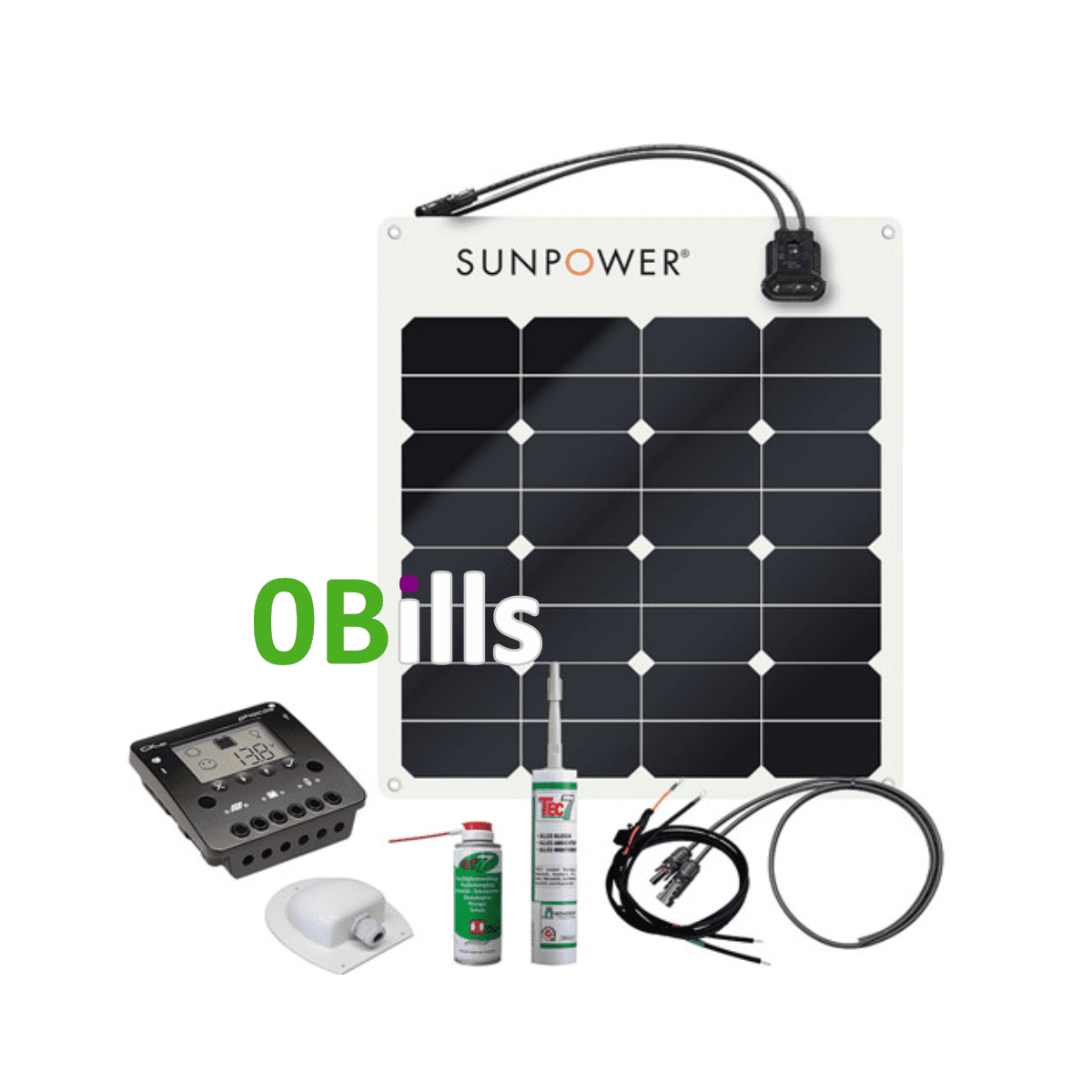 Off-Grid Power Generation Solar Kit Sunpower SPR-E-Flex 50W 12V