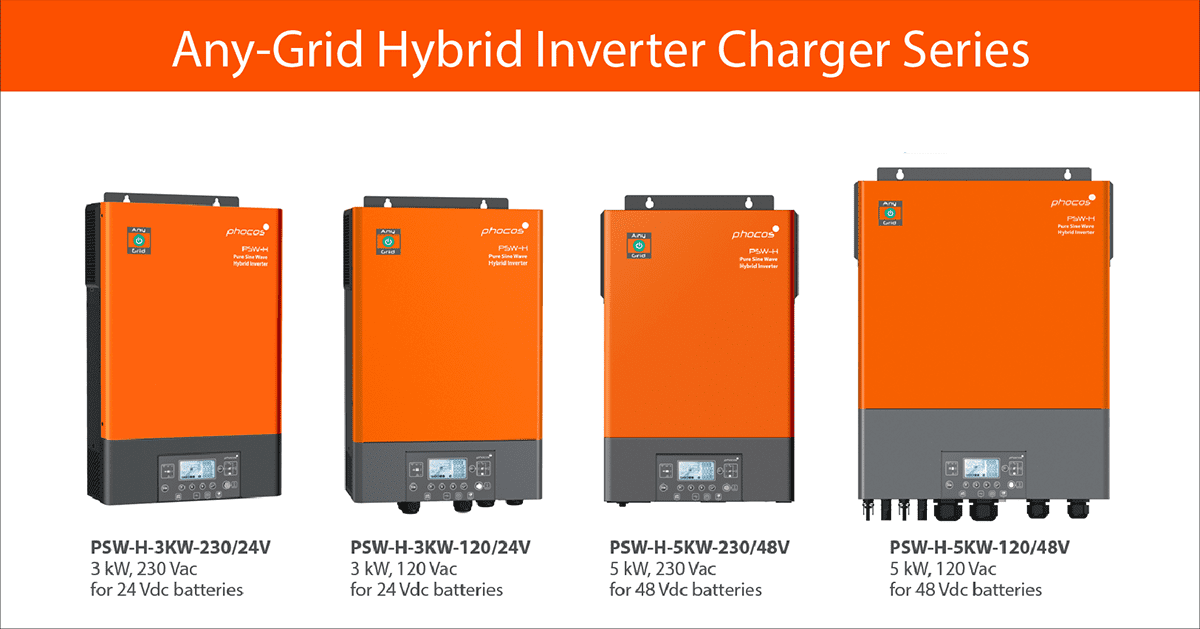 Phocos Any-Grid Hybrid Inverter Chargers Product Range for Sale on 0Bills